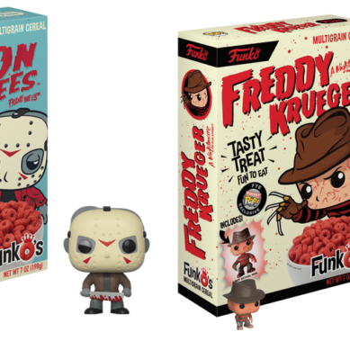 Cereal do Freddy Krueger e Jason com miniaturas Funko