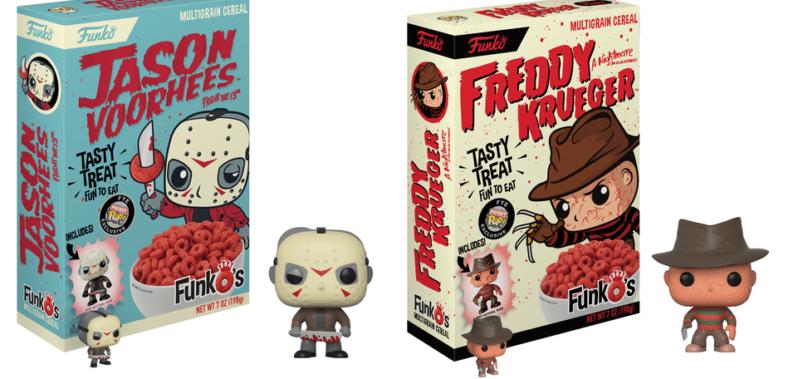 Cereal do Freddy Krueger e Jason com miniaturas Funko